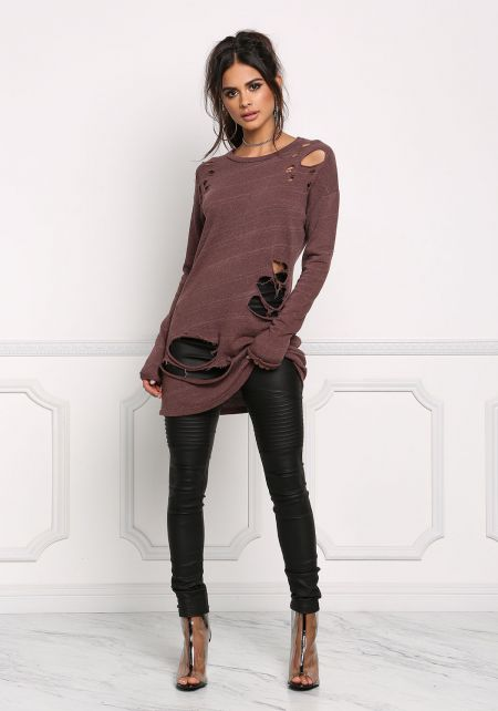 Brick Distressed Long Sleeve Tunic Top