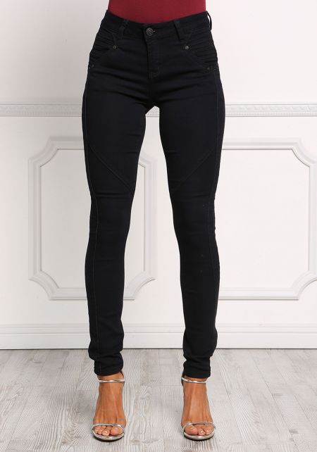 Black High Rise Embossed Skinny Jeans