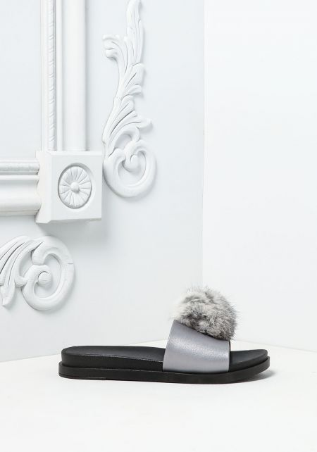 Grey Furry Pom Pom Slide Sandals