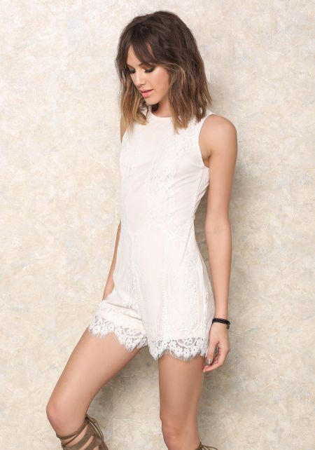 Ivory Baroque Lace Romper