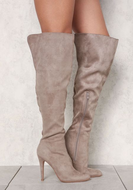 Taupe Suedette Over The Knee Boots