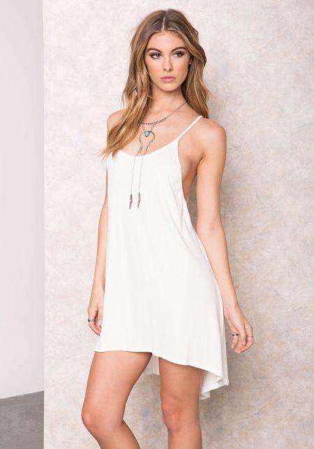 Ivory Ribbed Basic High Low Dress
