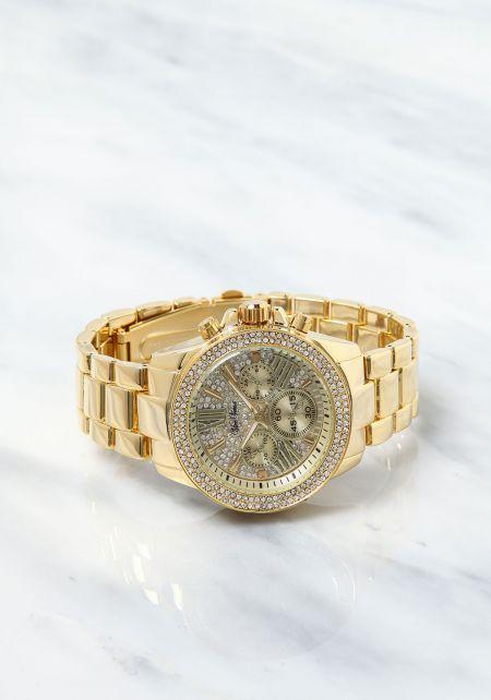 Gold Analog Rhinestone Chronograph Watch