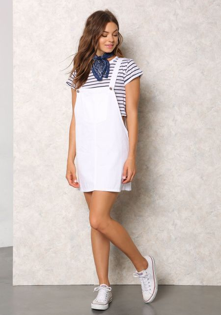 White Denim Thin Racerback Overall Dress