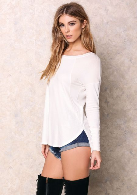 Ivory Basic Ribbed Thermal Top