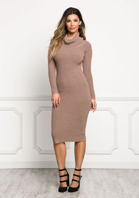 Mocha Turtleneck Ribbed Knit Bodycon Dress