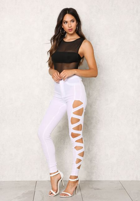 White Stretchy Cut Out High Rise Jeans