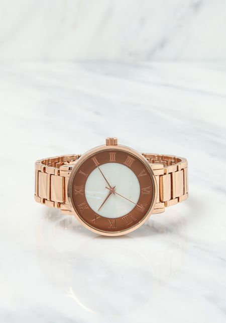 Rose Gold Roman Numeral Analog Watch