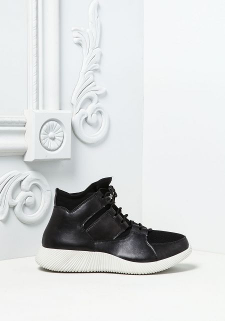 Black Leatherette High Top Sneakers