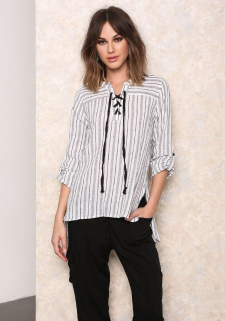 Ivory and Grey Linen Stripe Lace Up Top