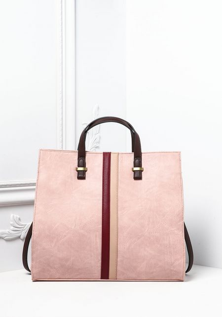 Dusty Pink Large Leatherette Tote Bag