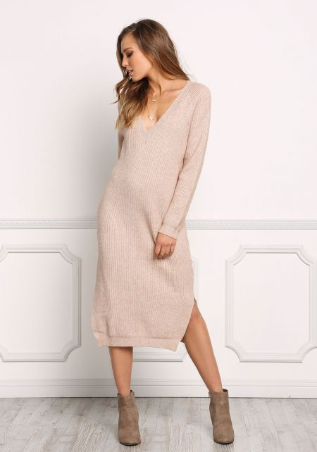 Latte Chunky Knit Shift Midi Dress