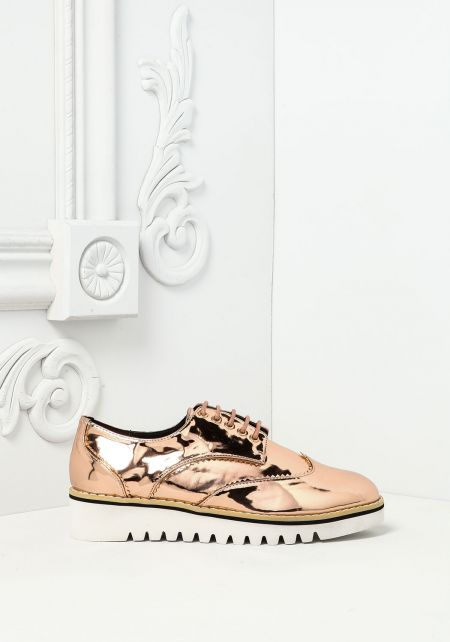 Rose Gold Chrome Leatherette Platform Sneakers