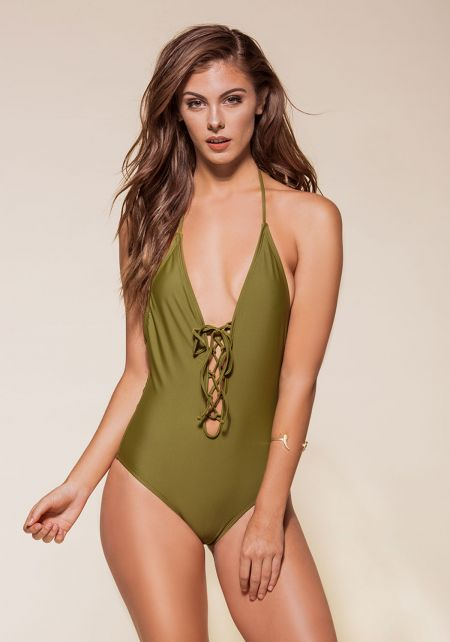 Olive Plunge Lace Up Open Back Monokini