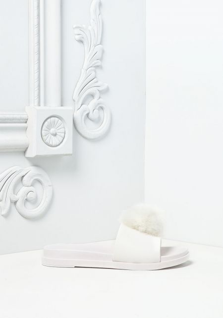 White Furry Pom Pom Slide Sandals