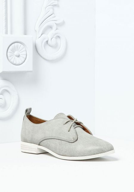 Grey Leatherette Slip On Oxford