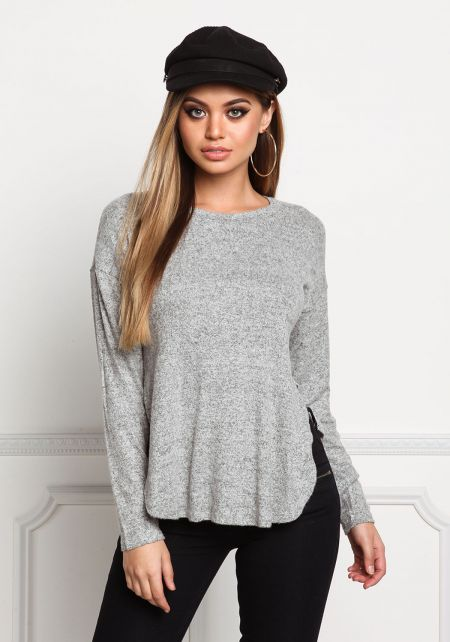 Heather Grey Soft Knit Marled Slit Top