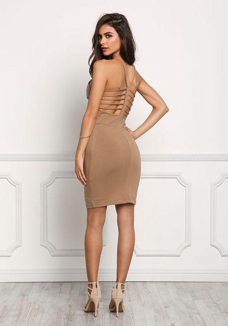 Mocha Jersey Knit Caged Bodycon Dress