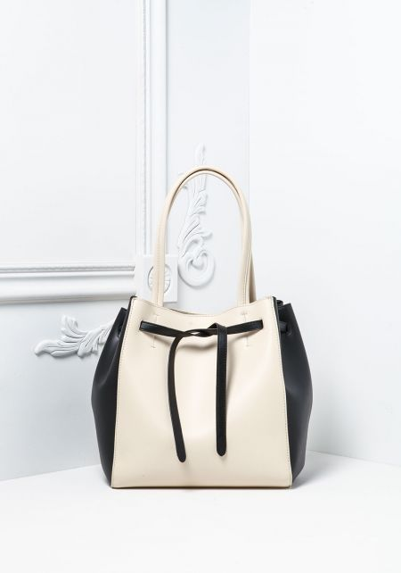 Black and Ivory Vegan Leatherette Tote Bag