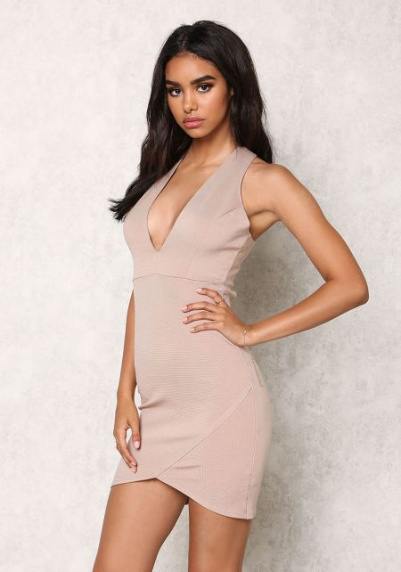 Taupe Plunge Cross Strap Bandage Bodycon Dress
