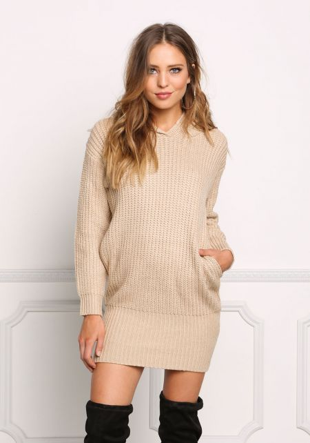 Taupe Thick Knit Hooded Shift Dress