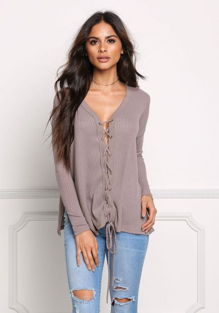 Mocha Lace Up Ribbed Knit Slit Top