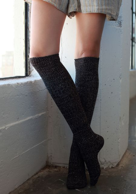 Black Marled Knee High Socks