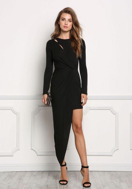 Black Twisted Asymmetrical Bodycon Dress
