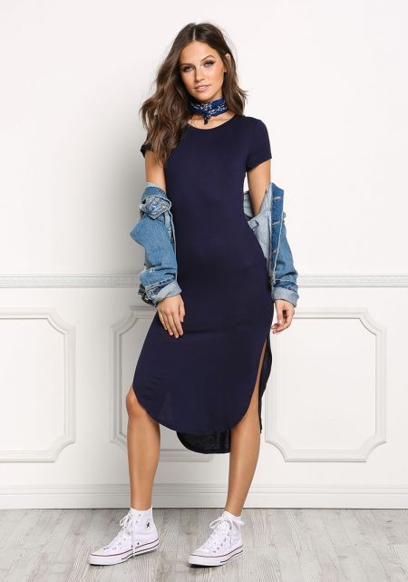 Navy Jersey Knit Slit T-Shirt Dress