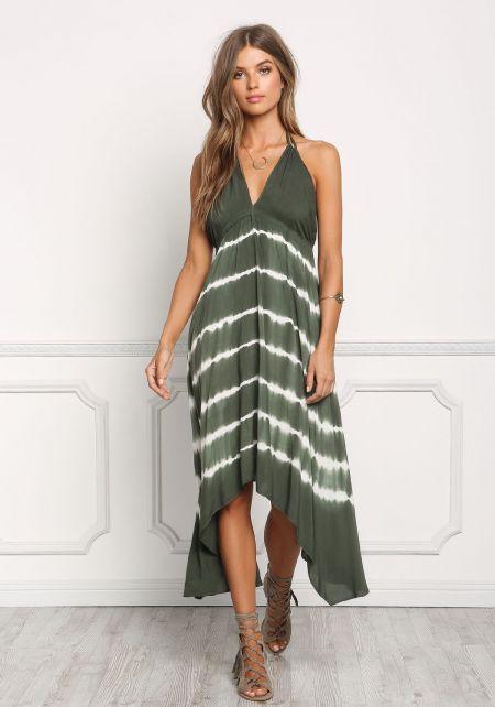 Olive Tie Dye Stripe Halter Maxi Dress
