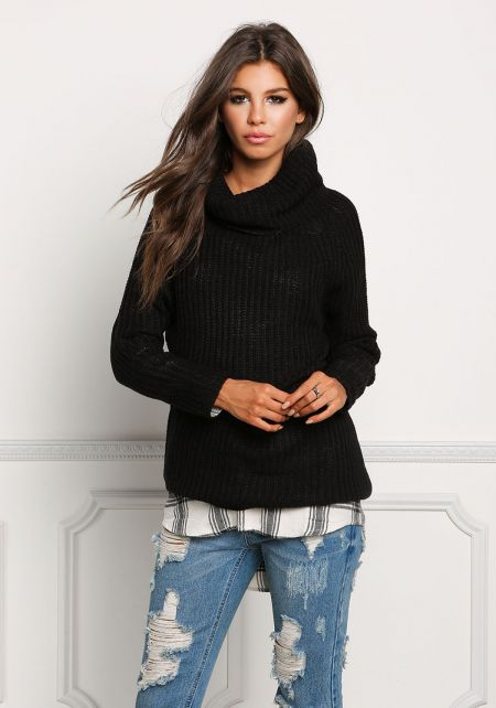 Black Turtleneck Chunky Sweater Top
