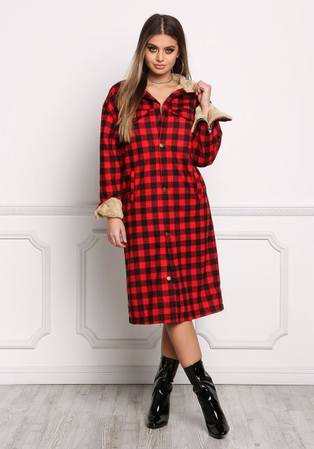 Red Gingham Faux Fur Longlined Jacket