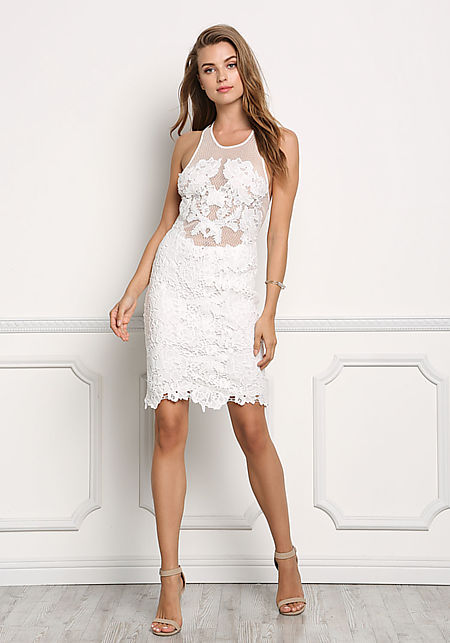 White Floral Crochet Cross Strap Dress