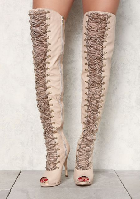 Nude Leatherette Over The Knee Cross Chain Boots