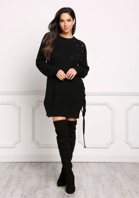 Black Side Lace Up Thick Sweater Dress