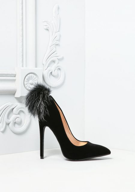 Black Pom Pom Pointed Toe Heels