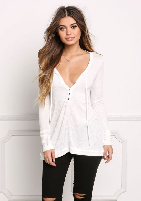 White Marled Low Cut Buttoned Top