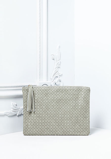 Light Grey Textured Leatherette Tassel Clutch