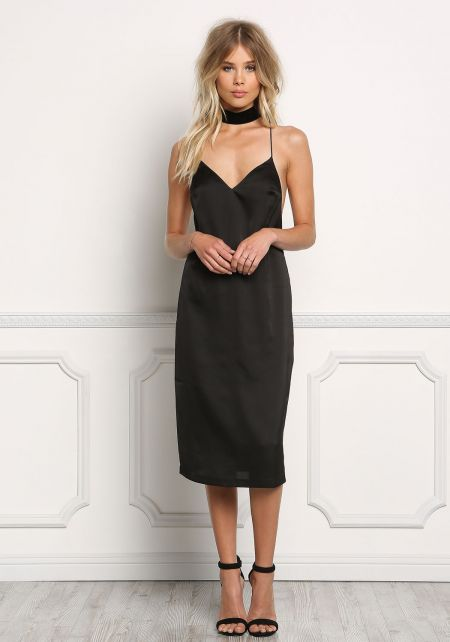 Black Satin X Strap Slip On Dress