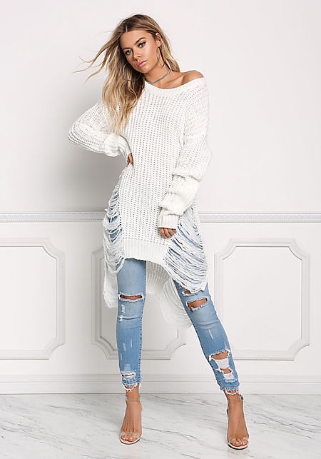 Off White Frayed Thick Sweater Top