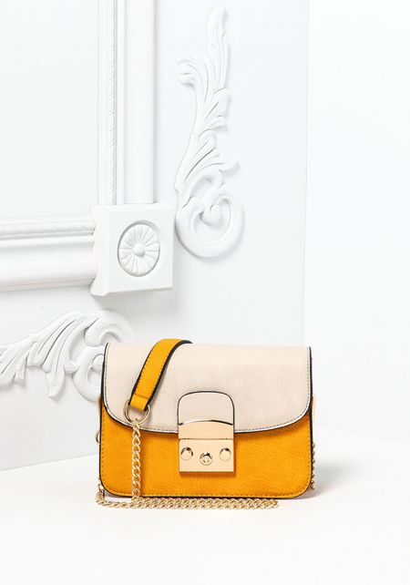 Mustard Leatherette Button Snap Crossbody Bag