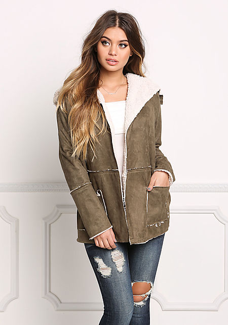 Olive Suedette Faux Shearling Fold Over Jacket
