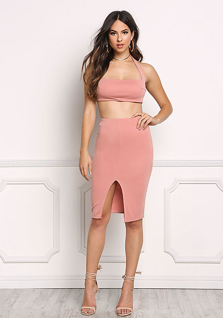 Blush Jersey Knit High Rise Slit Skirt