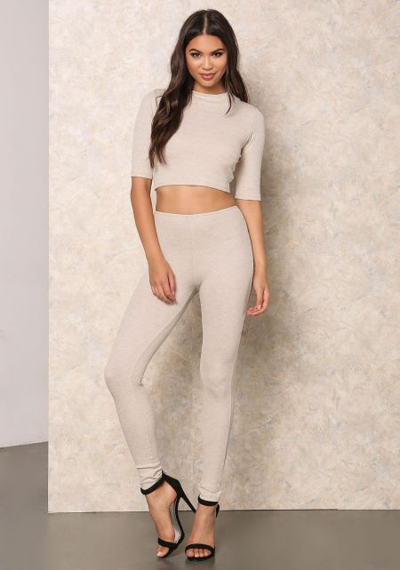 Oatmeal Thermal High Waist Leggings