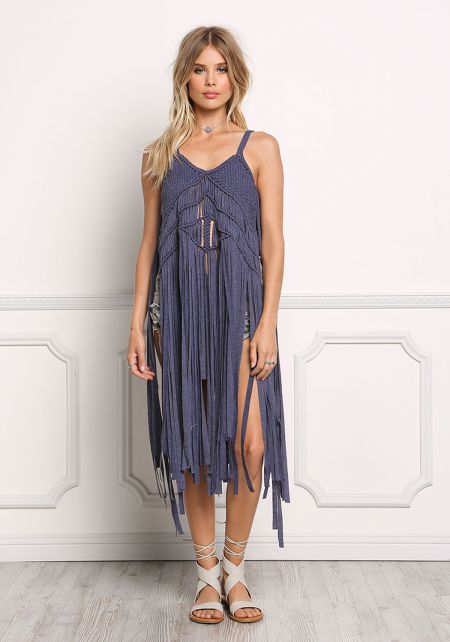 Dark Blue Woven Knit Fringe Tank Top