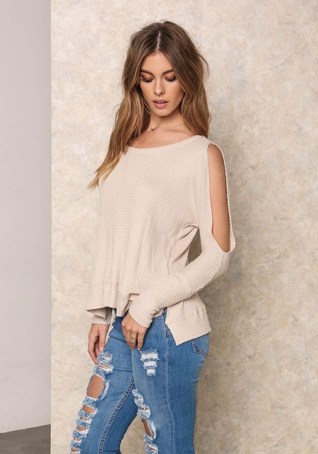 Taupe Thermal Cut Out Hi-Lo Top