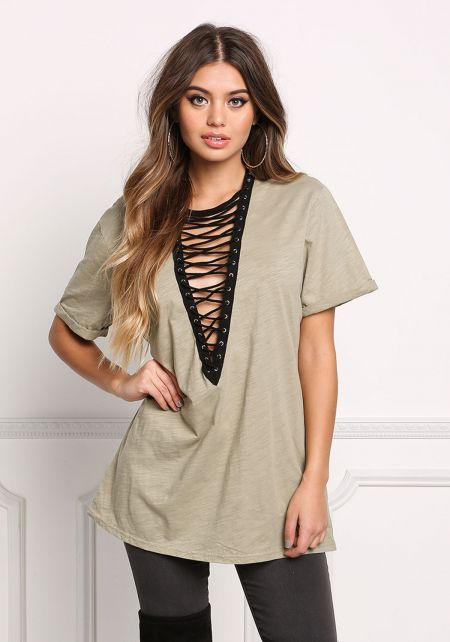 Sage Plunge Lace Up Tee Shirt