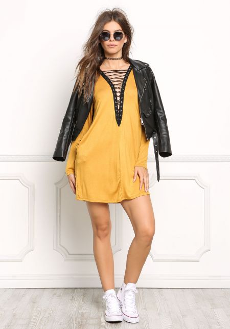 Mustard Plunge Lace Up Shift Dress