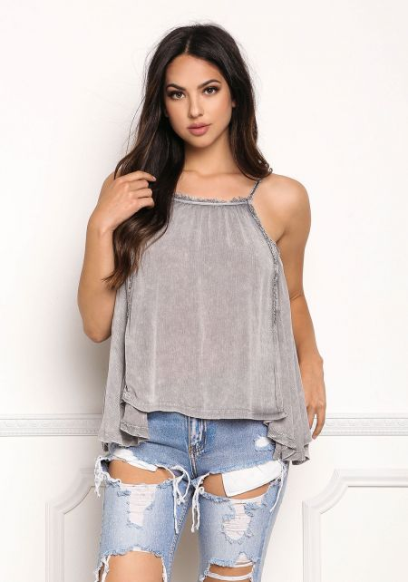 Grey Gauze Frayed Pointed Tank Top