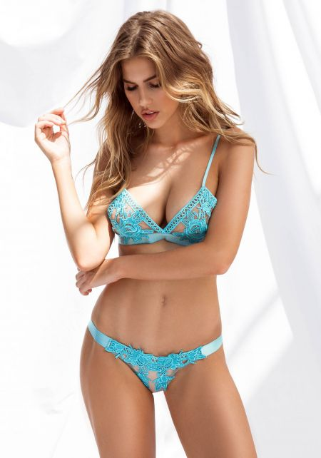 Turquoise Thick Waist Strap Floral Lace Panty